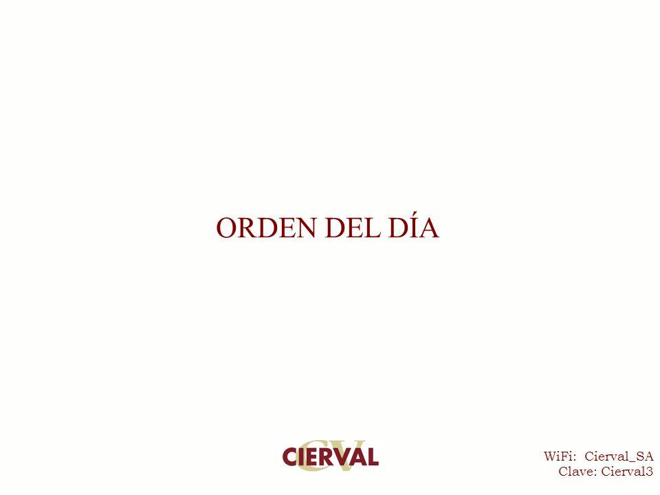 WiFi: Cierval_SA Clave: Cierval3 ORDEN DEL DÍA
