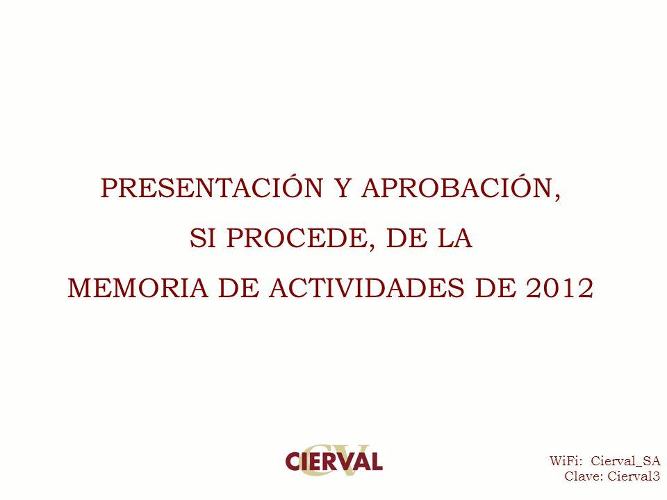 WiFi: Cierval_SA Clave: Cierval3 PRESENTACIÓN Y APROBACIÓN, SI PROCEDE, DE LA MEMORIA DE ACTIVIDADES DE 2012