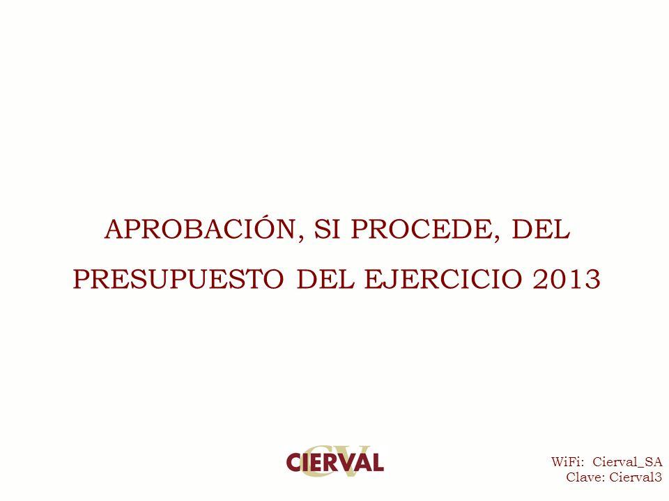 WiFi: Cierval_SA Clave: Cierval3 APROBACIÓN, SI PROCEDE, DEL PRESUPUESTO DEL EJERCICIO 2013