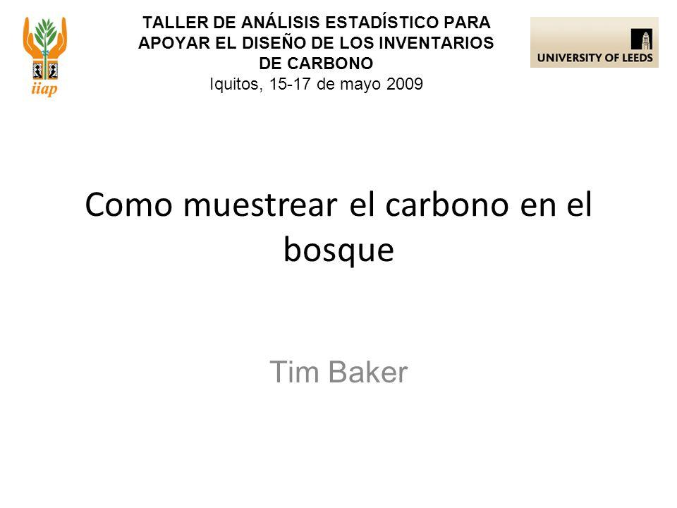 TALLER DE ANÁLISIS ESTADÍSTICO PARA APOYAR EL DISEÑO DE LOS INVENTARIOS DE CARBONO Iquitos, 15-17 de mayo 2009 Tim Baker Como muestrear el carbono en el bosque
