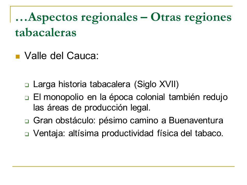 …Aspectos regionales – Otras regiones tabacaleras Valle del Cauca:  Larga historia tabacalera (Siglo XVII)  El monopolio en la época colonial también redujo las áreas de producción legal.