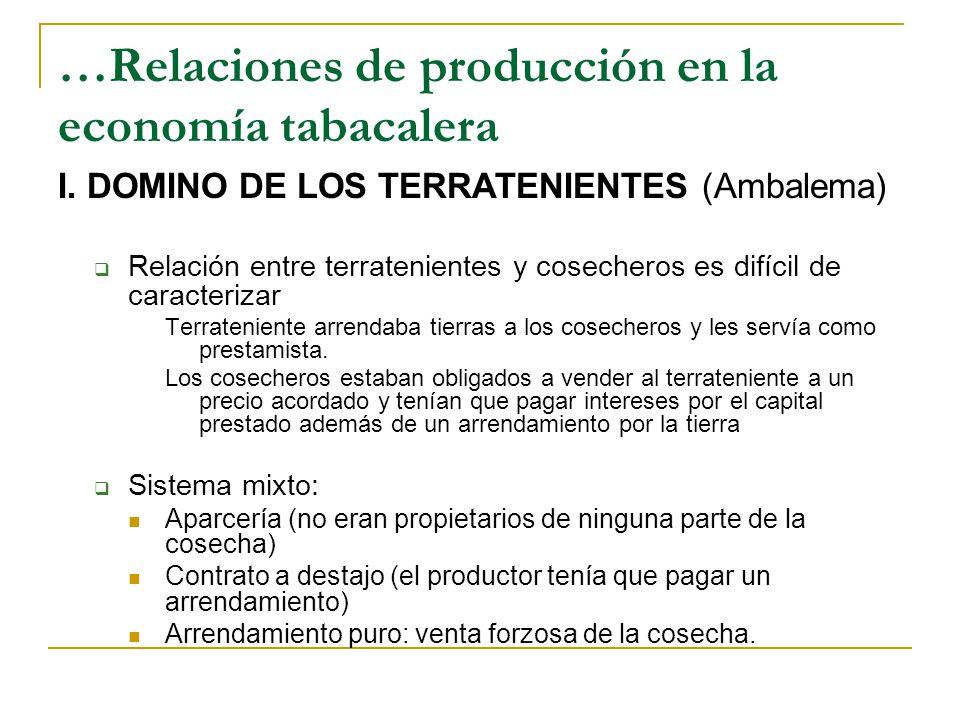 …Relaciones de producción en la economía tabacalera I.
