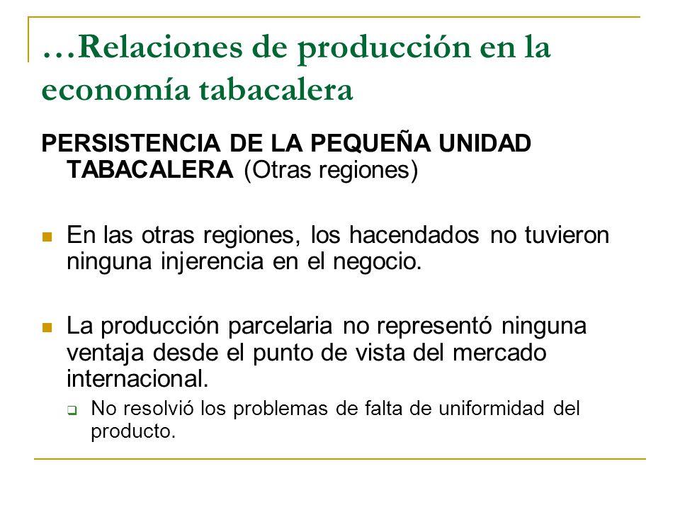 …Relaciones de producción en la economía tabacalera PERSISTENCIA DE LA PEQUEÑA UNIDAD TABACALERA (Otras regiones) En las otras regiones, los hacendados no tuvieron ninguna injerencia en el negocio.