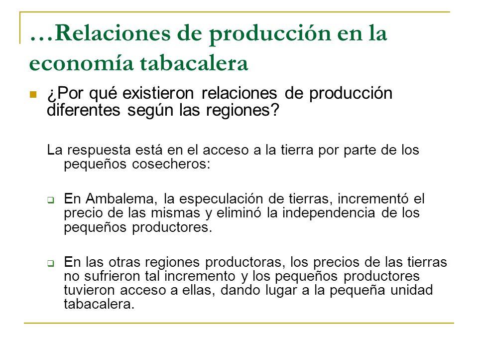 …Relaciones de producción en la economía tabacalera ¿Por qué existieron relaciones de producción diferentes según las regiones.