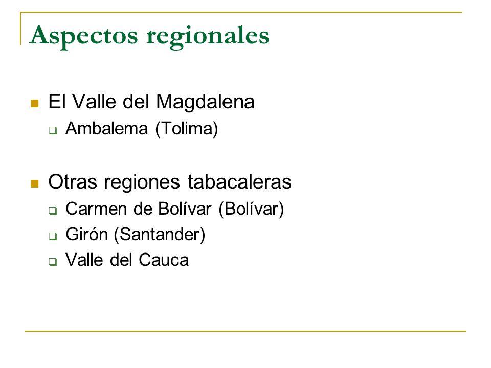 Aspectos regionales El Valle del Magdalena  Ambalema (Tolima) Otras regiones tabacaleras  Carmen de Bolívar (Bolívar)  Girón (Santander)  Valle del Cauca
