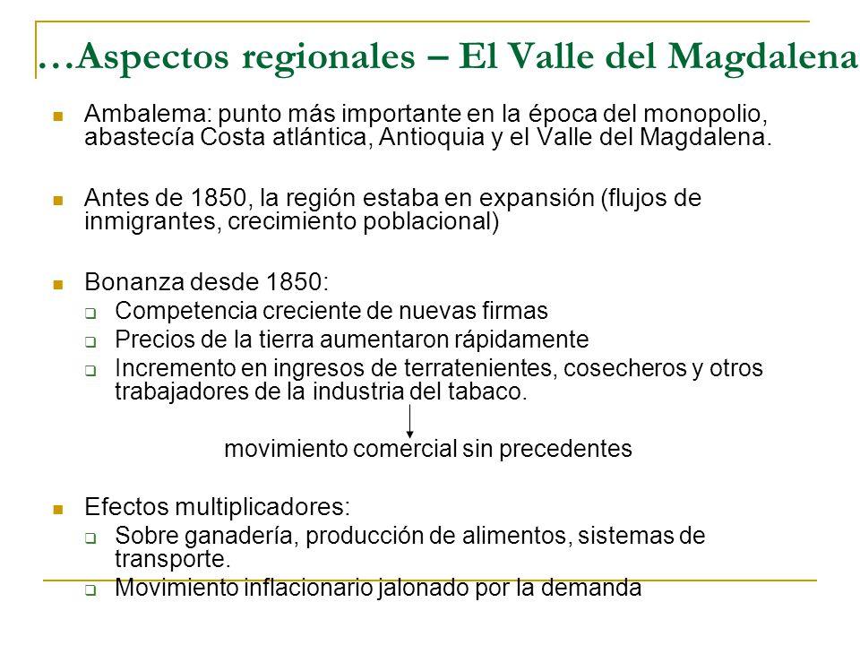 …Aspectos regionales – El Valle del Magdalena Ambalema: punto más importante en la época del monopolio, abastecía Costa atlántica, Antioquia y el Valle del Magdalena.