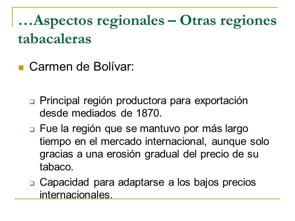 …Aspectos regionales – Otras regiones tabacaleras Carmen de Bolívar:  Principal región productora para exportación desde mediados de 1870.