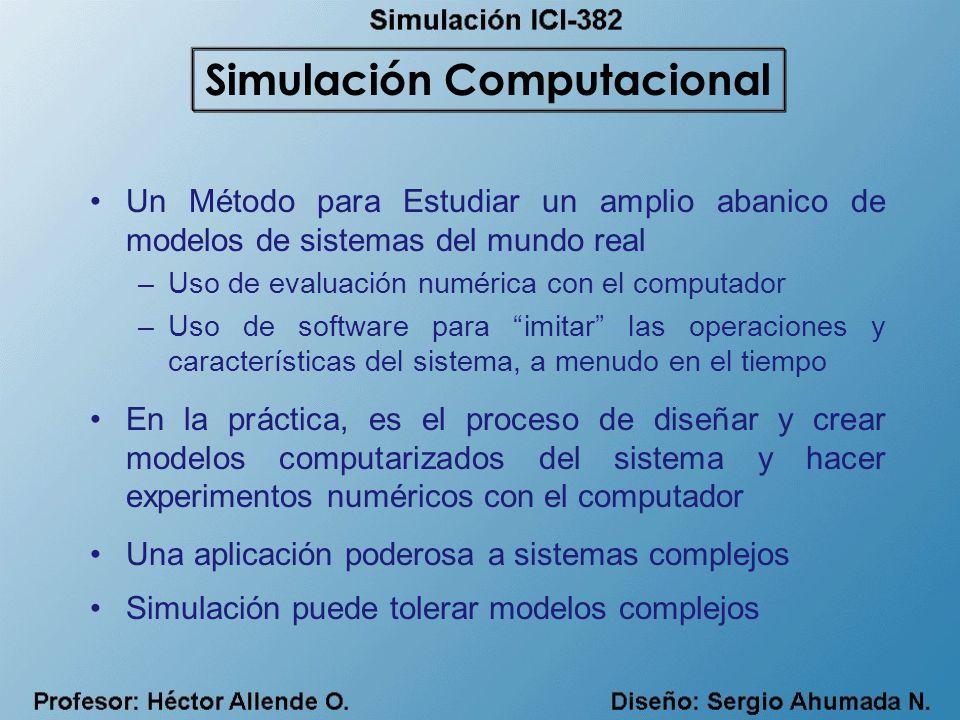 Un Método para Estudiar un amplio abanico de modelos de sistemas del mundo real –Uso de evaluación numérica con el computador –Uso de software para imitar las operaciones y características del sistema, a menudo en el tiempo En la práctica, es el proceso de diseñar y crear modelos computarizados del sistema y hacer experimentos numéricos con el computador Una aplicación poderosa a sistemas complejos Simulación puede tolerar modelos complejos Simulación Computacional