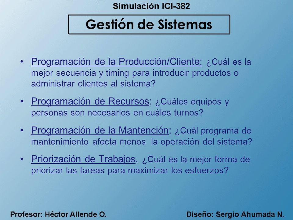 Programación de la Producción/Cliente: ¿Cuál es la mejor secuencia y timing para introducir productos o administrar clientes al sistema.