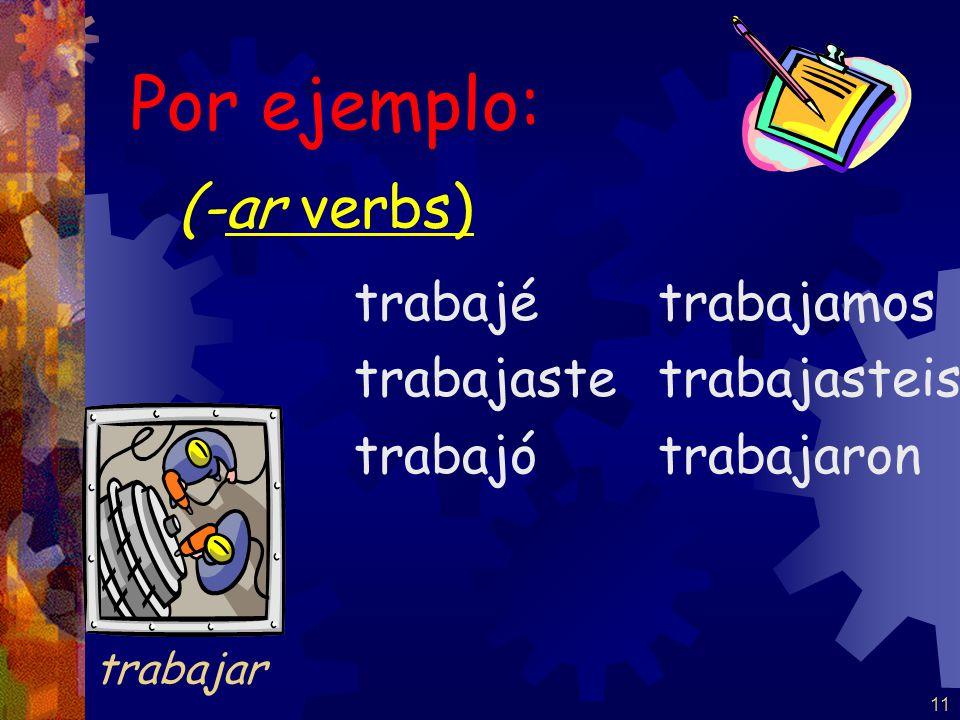 10 (-ar verbs) hablé hablaste habló hablamos hablasteis hablaron Por ejemplo: hablar