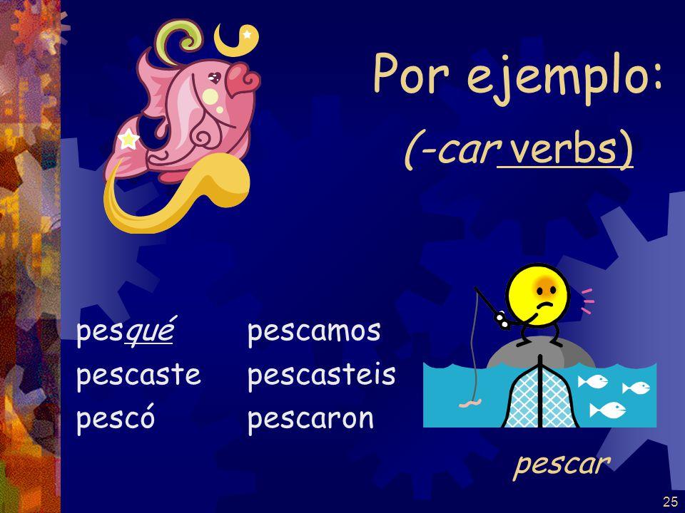 24 The yo form of the pretérito changes to conserve the sound of the infinitive: -car -gar -zar -qué -gué -cé tocé jugé rezé