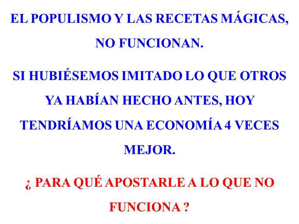 EL POPULISMO Y LAS RECETAS MÁGICAS, NO FUNCIONAN.