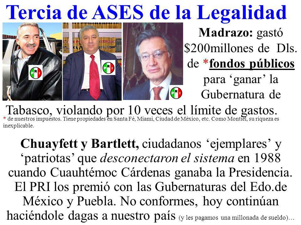 Tercia de ASES de la Legalidad Madrazo: gastó $200millones de Dls.