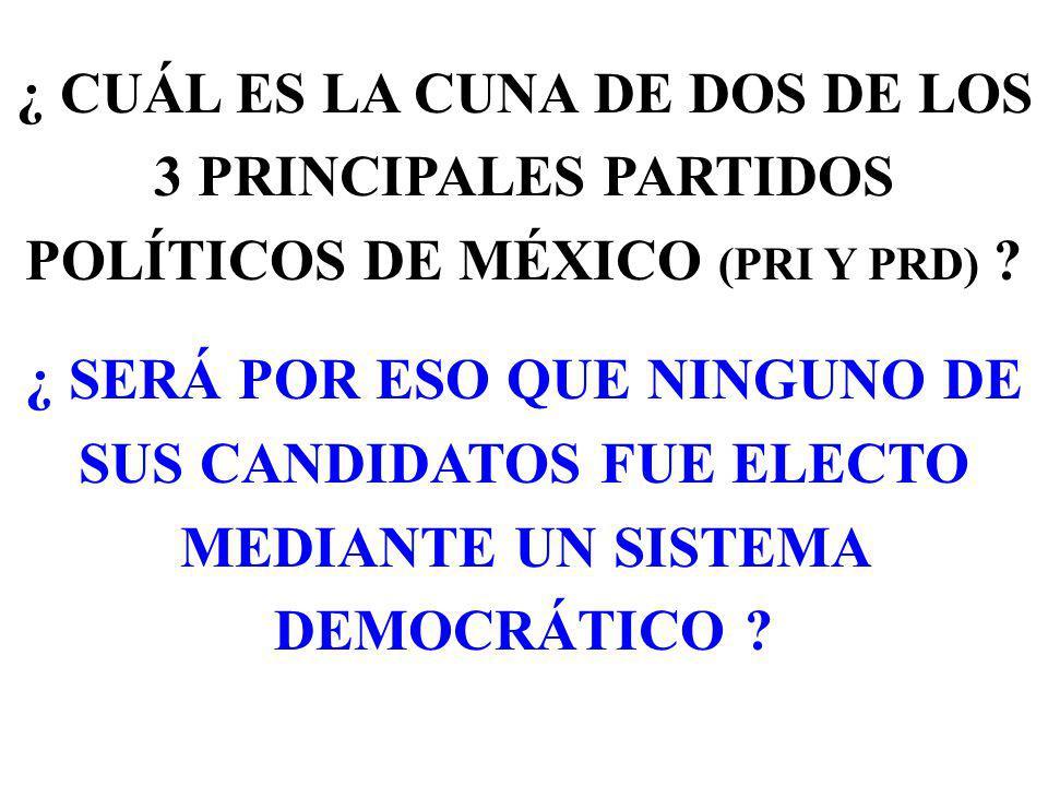 ¿ CUÁL ES LA CUNA DE DOS DE LOS 3 PRINCIPALES PARTIDOS POLÍTICOS DE MÉXICO (PRI Y PRD) .