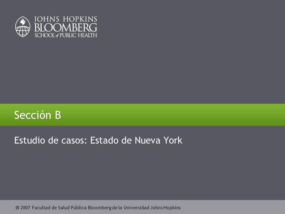  2007 Facultad de Salud Pública Bloomberg de la Universidad Johns Hopkins Sección B Estudio de casos: Estado de Nueva York