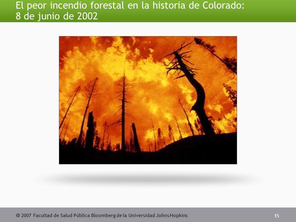  2007 Facultad de Salud Pública Bloomberg de la Universidad Johns Hopkins 15 El peor incendio forestal en la historia de Colorado: 8 de junio de 2002