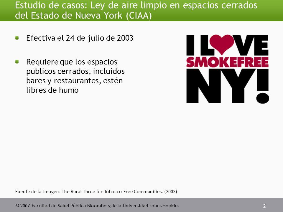  2007 Facultad de Salud Pública Bloomberg de la Universidad Johns Hopkins 2 Estudio de casos: Ley de aire limpio en espacios cerrados del Estado de Nueva York (CIAA) Efectiva el 24 de julio de 2003 Requiere que los espacios públicos cerrados, incluidos bares y restaurantes, estén libres de humo Fuente de la imagen: The Rural Three for Tobacco-Free Communities.
