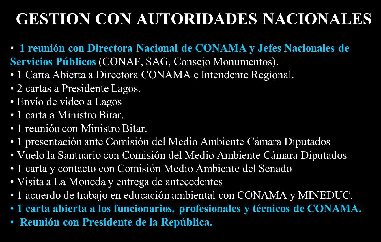 GESTION CON AUTORIDADES NACIONALES 1 reunión con Directora Nacional de CONAMA y Jefes Nacionales de Servicios Públicos (CONAF, SAG, Consejo Monumentos).