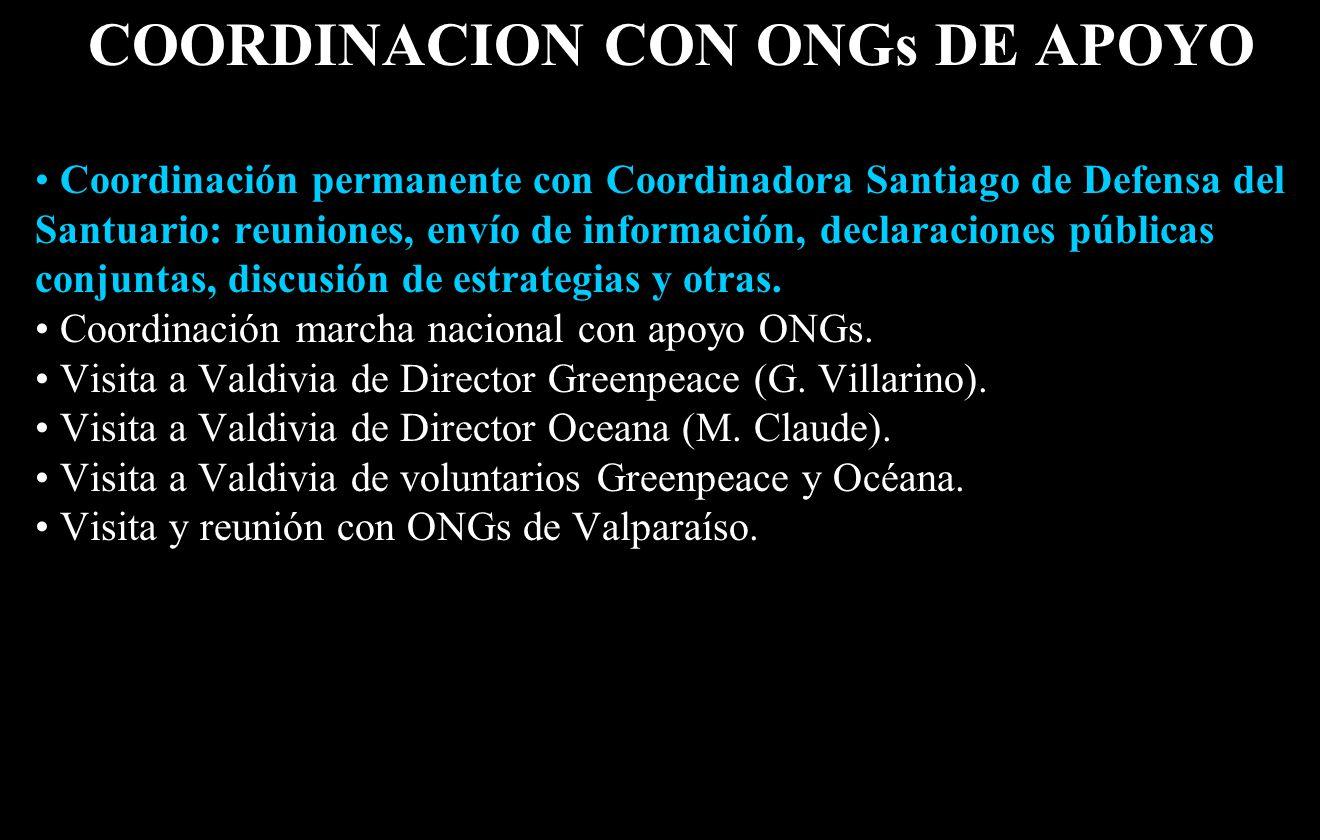 COORDINACION CON ONGs DE APOYO Coordinación permanente con Coordinadora Santiago de Defensa del Santuario: reuniones, envío de información, declaraciones públicas conjuntas, discusión de estrategias y otras.