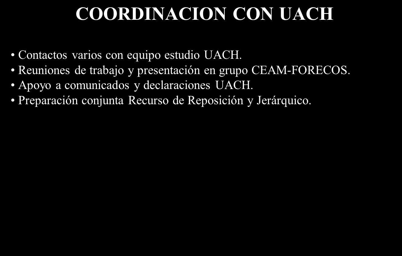 COORDINACION CON UACH Contactos varios con equipo estudio UACH.