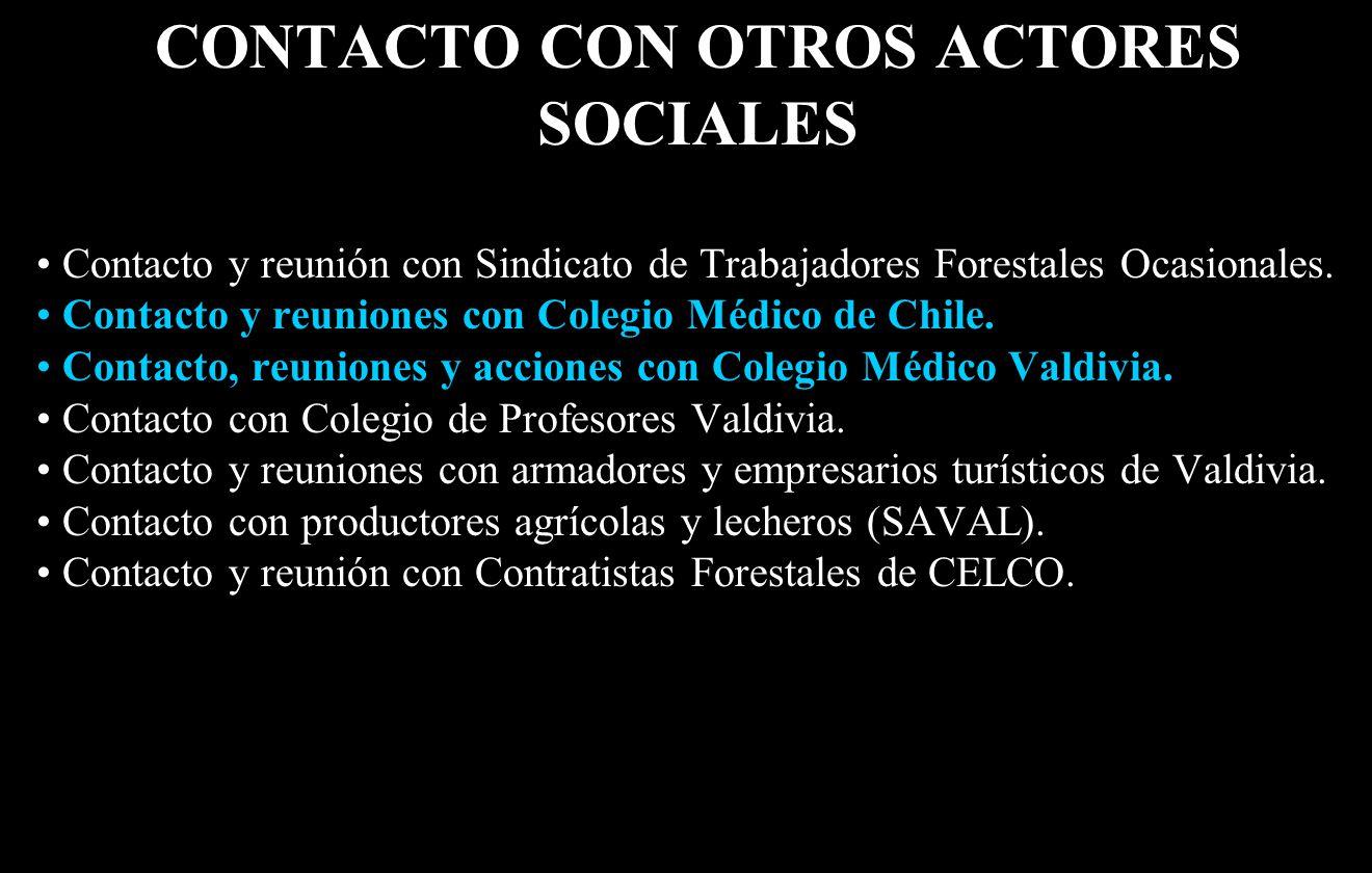 CONTACTO CON OTROS ACTORES SOCIALES Contacto y reunión con Sindicato de Trabajadores Forestales Ocasionales.