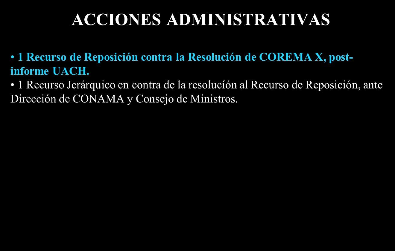 ACCIONES ADMINISTRATIVAS 1 Recurso de Reposición contra la Resolución de COREMA X, post- informe UACH.