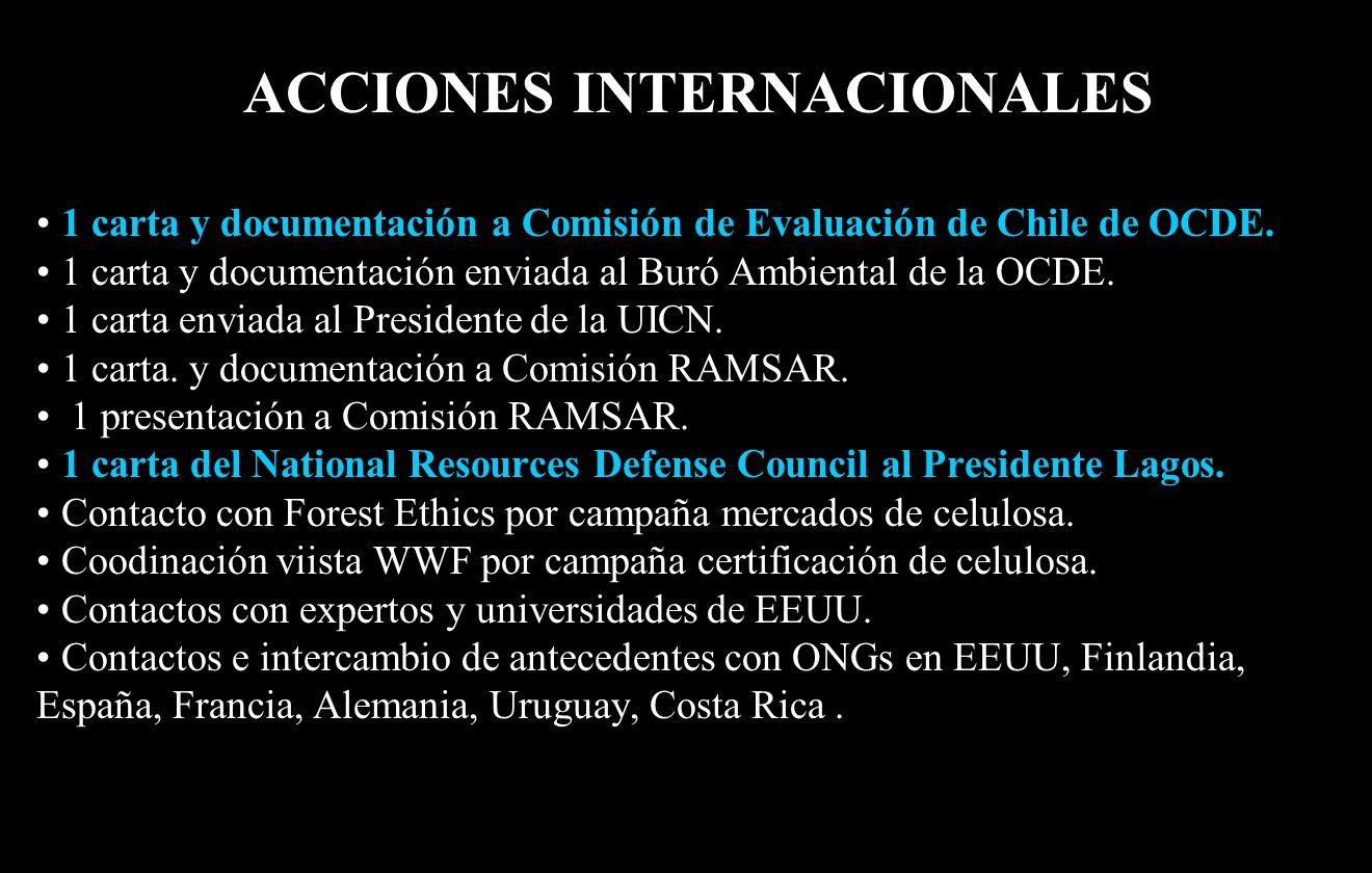 ACCIONES INTERNACIONALES 1 carta y documentación a Comisión de Evaluación de Chile de OCDE.