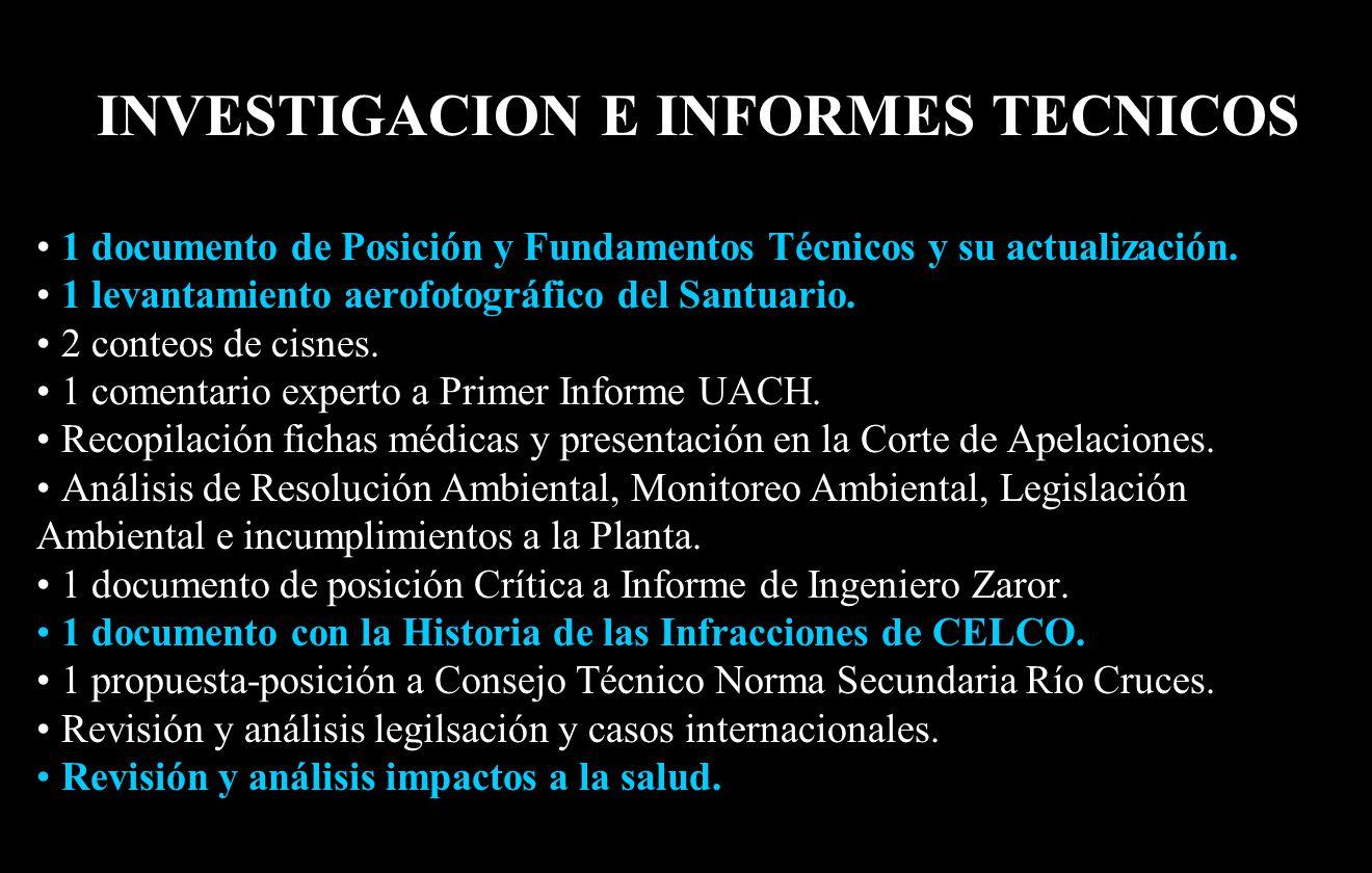 INVESTIGACION E INFORMES TECNICOS 1 documento de Posición y Fundamentos Técnicos y su actualización.