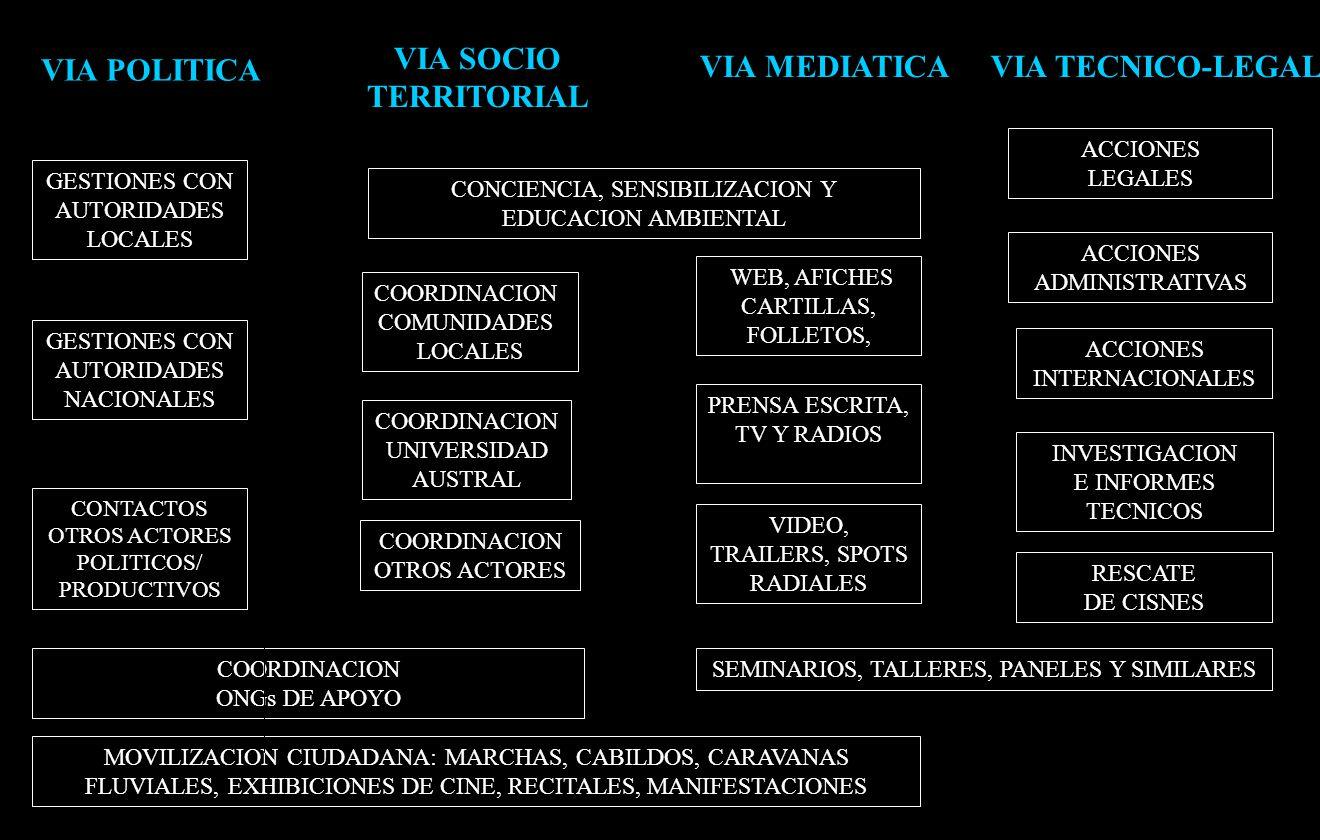 MOVILIZACION CIUDADANA: MARCHAS, CABILDOS, CARAVANAS FLUVIALES, EXHIBICIONES DE CINE, RECITALES, MANIFESTACIONES GESTIONES CON AUTORIDADES LOCALES ACCIONES LEGALES ACCIONES INTERNACIONALES CONCIENCIA, SENSIBILIZACION Y EDUCACION AMBIENTAL WEB, AFICHES CARTILLAS, FOLLETOS, RESCATE DE CISNES INVESTIGACION E INFORMES TECNICOS VIA POLITICA VIA TECNICO-LEGAL COORDINACION COMUNIDADES LOCALES COORDINACION UNIVERSIDAD AUSTRAL COORDINACION ONGs DE APOYO VIA MEDIATICA VIA SOCIO TERRITORIAL ACCIONES ADMINISTRATIVAS COORDINACION OTROS ACTORES GESTIONES CON AUTORIDADES NACIONALES PRENSA ESCRITA, TV Y RADIOS VIDEO, TRAILERS, SPOTS RADIALES CONTACTOS OTROS ACTORES POLITICOS/ PRODUCTIVOS SEMINARIOS, TALLERES, PANELES Y SIMILARES