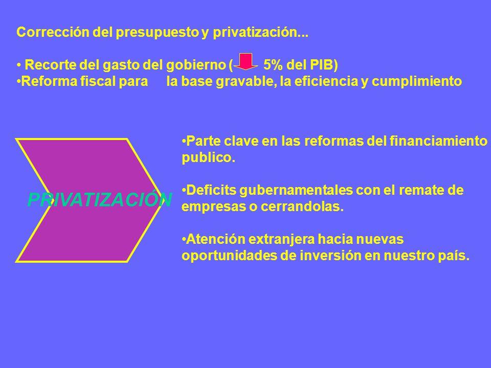 Corrección del presupuesto y privatización...