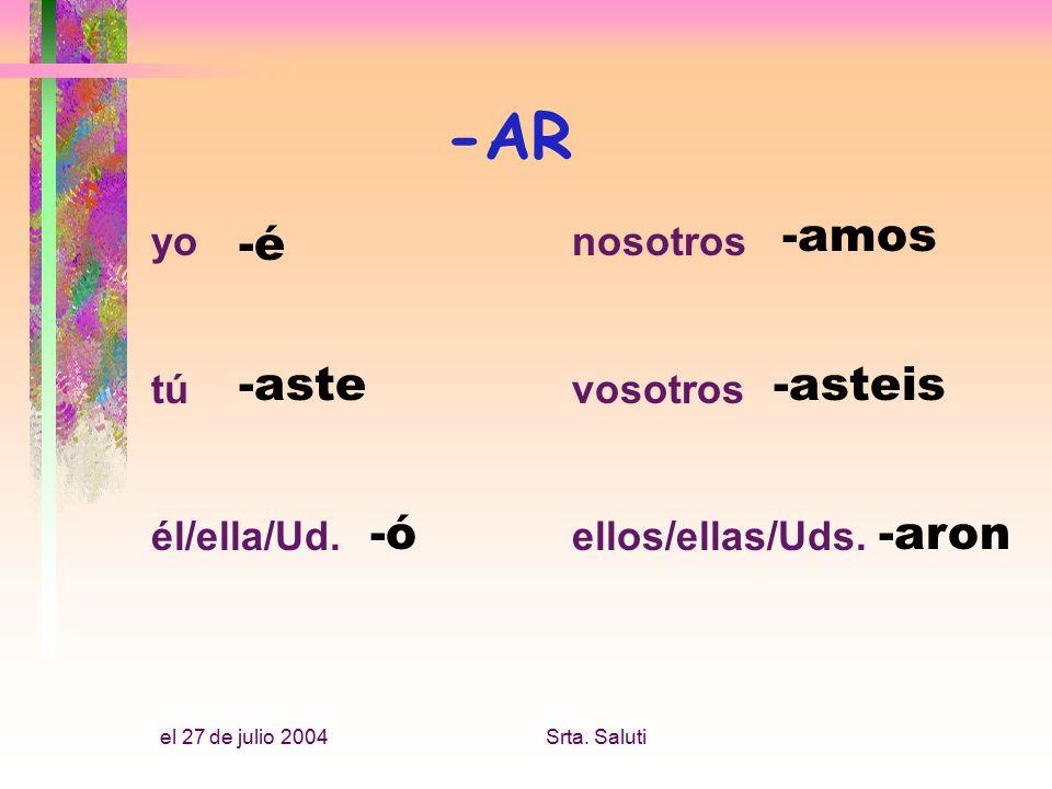 el 27 de julio 2004Srta. Saluti yonosotros túvosotros él/ella/Ud.ellos/ellas/Uds.