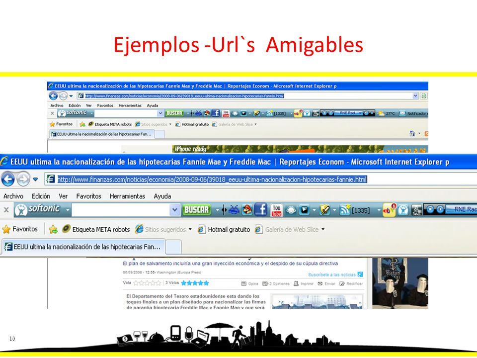 10 Ejemplos -Url`s Amigables
