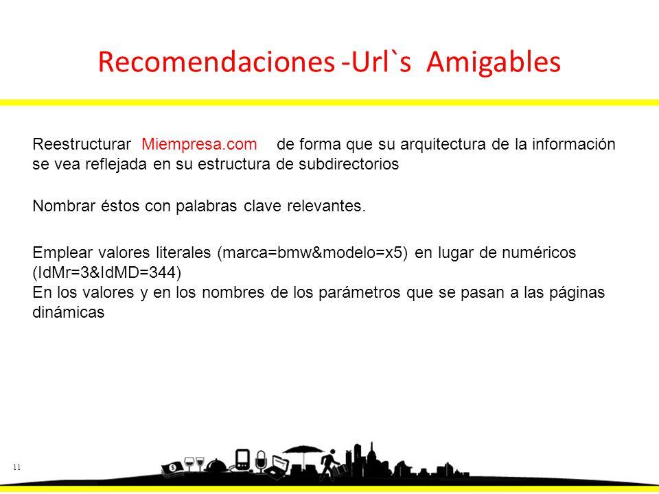 11 Recomendaciones -Url`s Amigables Reestructurar Miempresa.com de forma que su arquitectura de la información se vea reflejada en su estructura de subdirectorios Nombrar éstos con palabras clave relevantes.