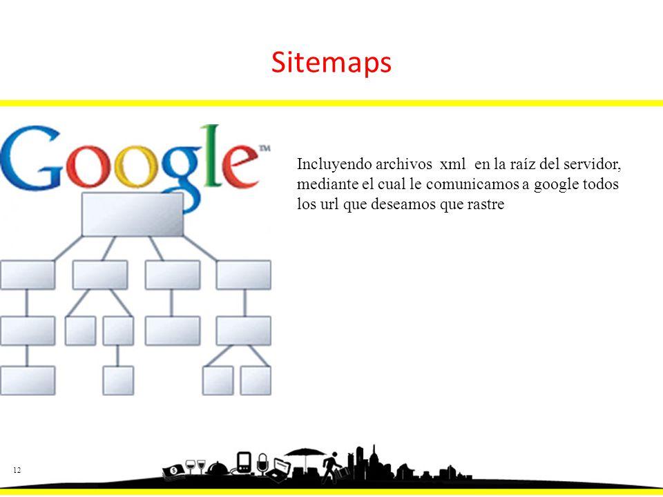12 Sitemaps Incluyendo archivos xml en la raíz del servidor, mediante el cual le comunicamos a google todos los url que deseamos que rastre