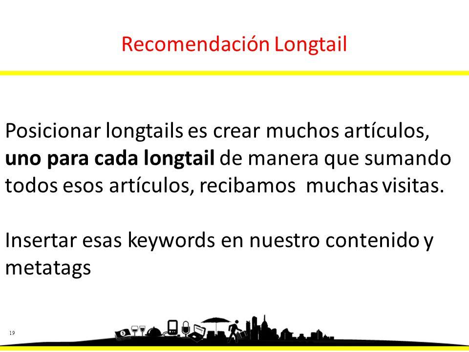 19 Recomendación Longtail Posicionar longtails es crear muchos artículos, uno para cada longtail de manera que sumando todos esos artículos, recibamos muchas visitas.