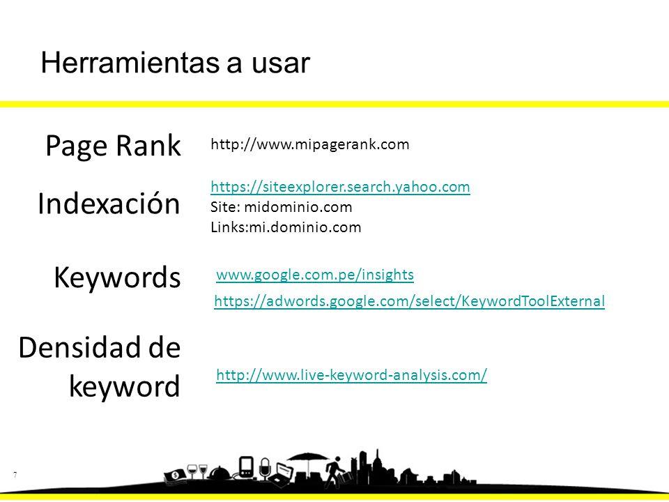 77 Page Rank http://www.mipagerank.com Indexación https://siteexplorer.search.yahoo.com Site: midominio.com Links:mi.dominio.com Keywords www.google.com.pe/insights https://adwords.google.com/select/KeywordToolExternal http://www.live-keyword-analysis.com/ Densidad de keyword Herramientas a usar