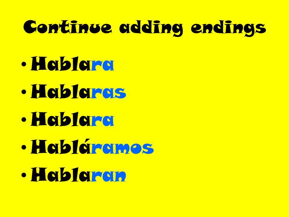 Continue adding endings Hablara Hablaras Hablara Habláramos Hablaran