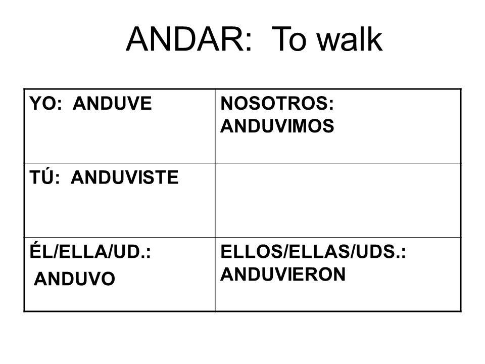 ANDAR: To walk YO: ANDUVENOSOTROS: ANDUVIMOS TÚ: ANDUVISTE ÉL/ELLA/UD.: ANDUVO ELLOS/ELLAS/UDS.: ANDUVIERON