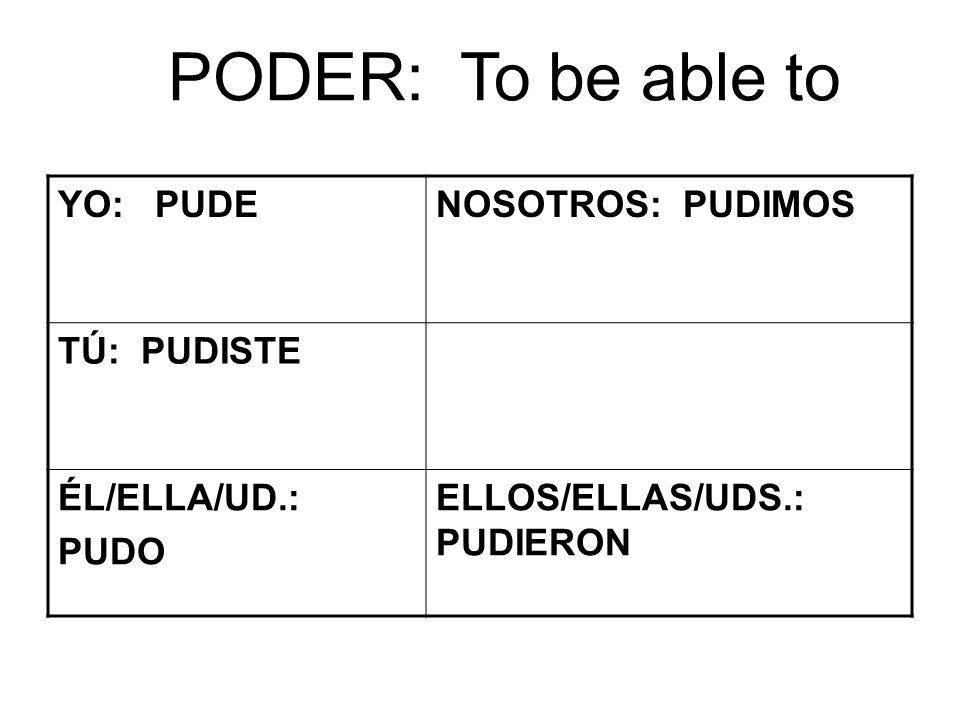 PODER: To be able to YO: PUDENOSOTROS: PUDIMOS TÚ: PUDISTE ÉL/ELLA/UD.: PUDO ELLOS/ELLAS/UDS.: PUDIERON