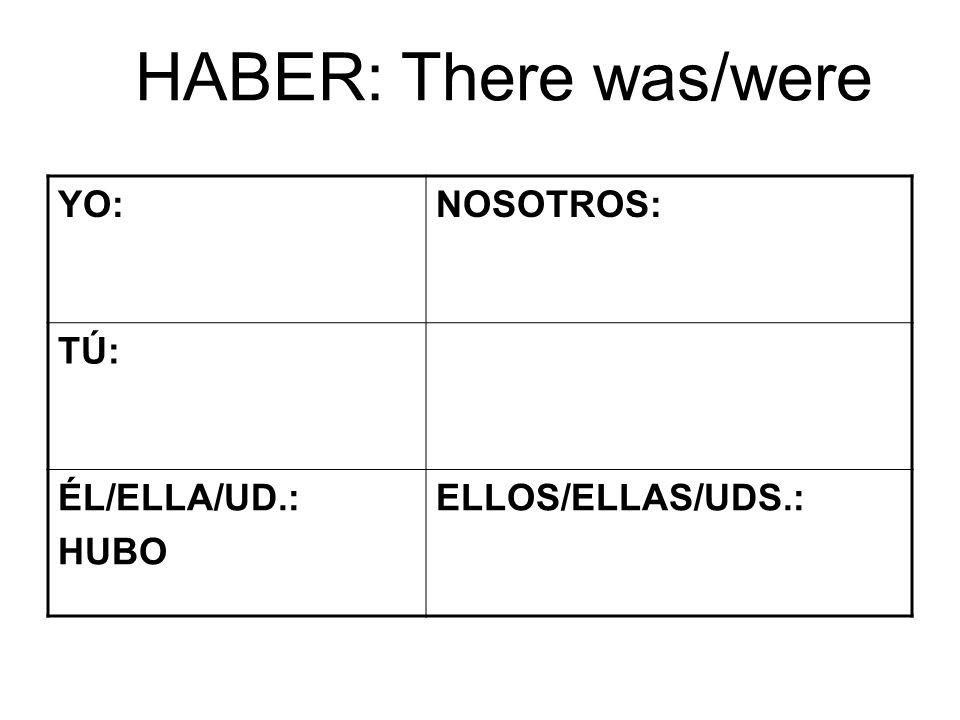 HABER: There was/were YO:NOSOTROS: TÚ: ÉL/ELLA/UD.: HUBO ELLOS/ELLAS/UDS.: