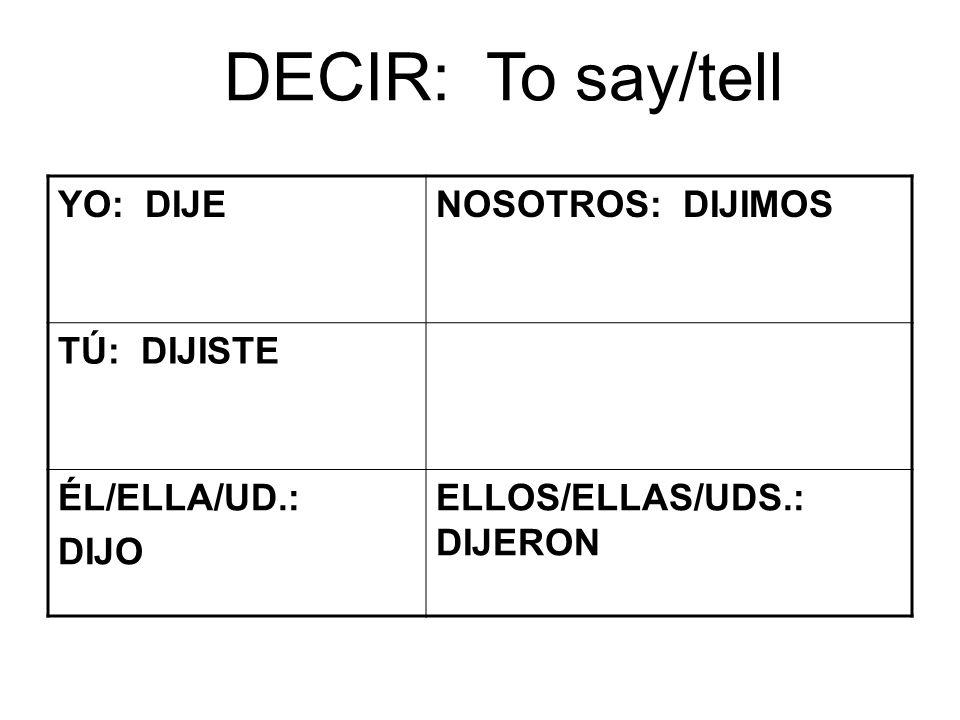 DECIR: To say/tell YO: DIJENOSOTROS: DIJIMOS TÚ: DIJISTE ÉL/ELLA/UD.: DIJO ELLOS/ELLAS/UDS.: DIJERON
