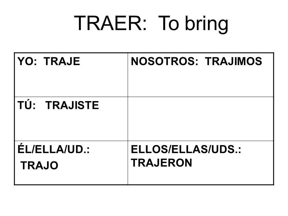 TRAER: To bring YO: TRAJENOSOTROS: TRAJIMOS TÚ: TRAJISTE ÉL/ELLA/UD.: TRAJO ELLOS/ELLAS/UDS.: TRAJERON