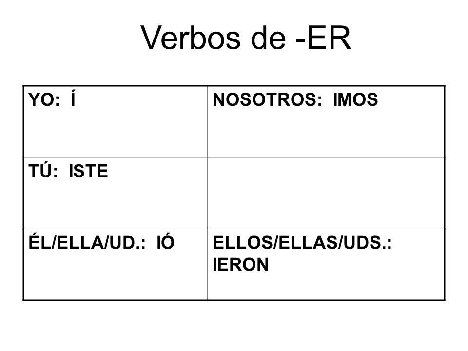 Verbos de -ER YO: ÍNOSOTROS: IMOS TÚ: ISTE ÉL/ELLA/UD.: IÓELLOS/ELLAS/UDS.: IERON