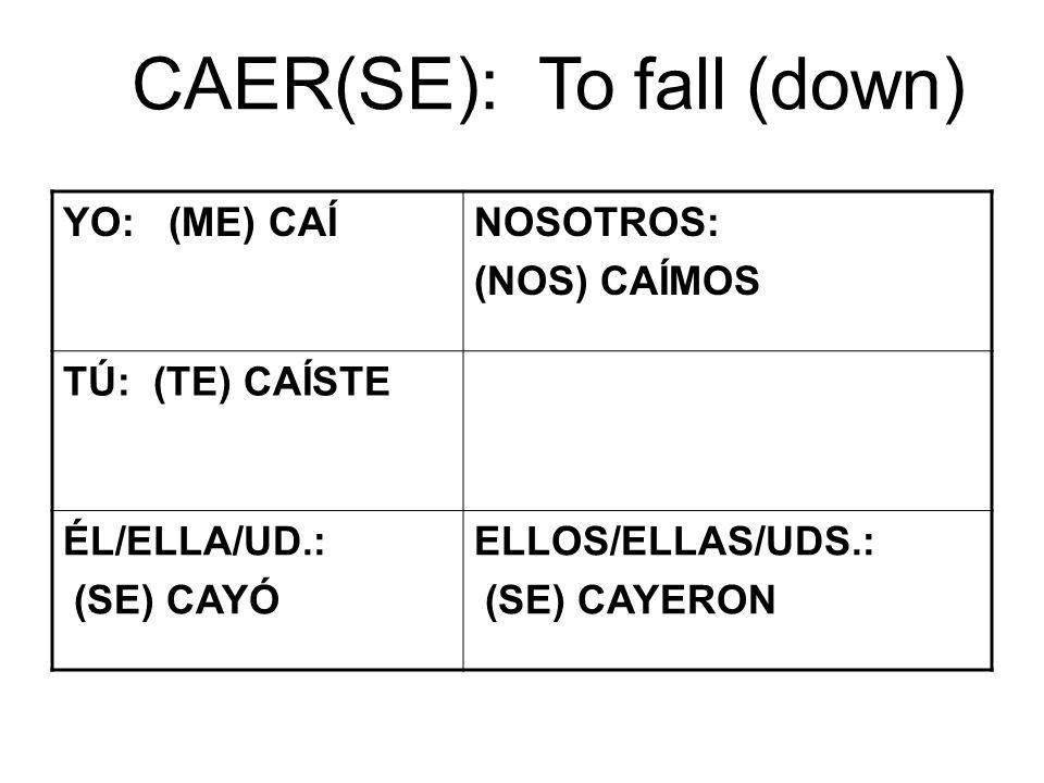 CAER(SE): To fall (down) YO: (ME) CAÍNOSOTROS: (NOS) CAÍMOS TÚ: (TE) CAÍSTE ÉL/ELLA/UD.: (SE) CAYÓ ELLOS/ELLAS/UDS.: (SE) CAYERON