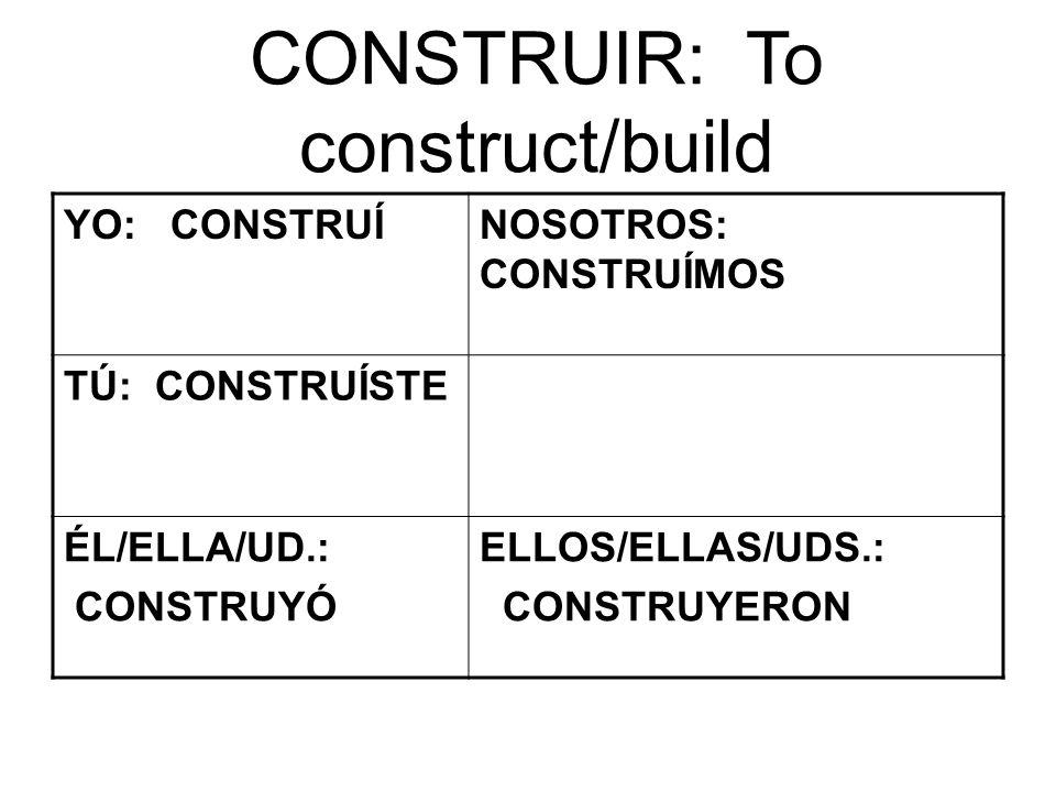 CONSTRUIR: To construct/build YO: CONSTRUÍNOSOTROS: CONSTRUÍMOS TÚ: CONSTRUÍSTE ÉL/ELLA/UD.: CONSTRUYÓ ELLOS/ELLAS/UDS.: CONSTRUYERON