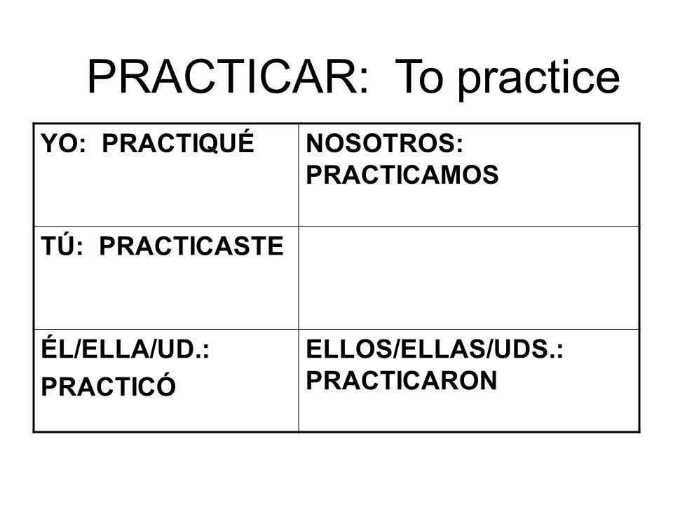 PRACTICAR: To practice YO: PRACTIQUÉNOSOTROS: PRACTICAMOS TÚ: PRACTICASTE ÉL/ELLA/UD.: PRACTICÓ ELLOS/ELLAS/UDS.: PRACTICARON
