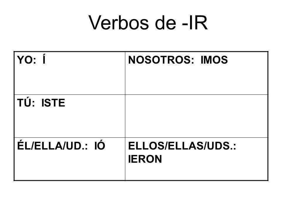 Verbos de -IR YO: ÍNOSOTROS: IMOS TÚ: ISTE ÉL/ELLA/UD.: IÓELLOS/ELLAS/UDS.: IERON