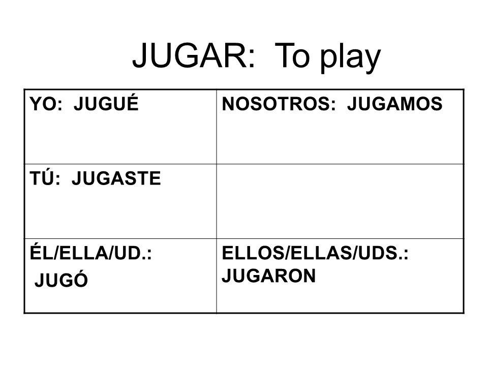 JUGAR: To play YO: JUGUÉNOSOTROS: JUGAMOS TÚ: JUGASTE ÉL/ELLA/UD.: JUGÓ ELLOS/ELLAS/UDS.: JUGARON