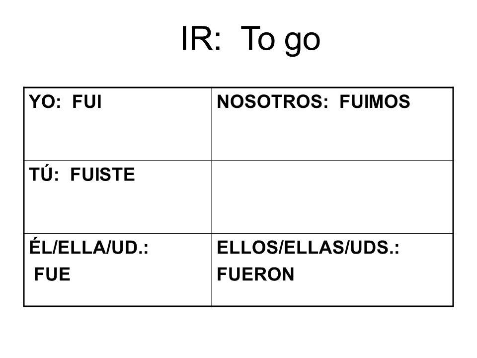IR: To go YO: FUINOSOTROS: FUIMOS TÚ: FUISTE ÉL/ELLA/UD.: FUE ELLOS/ELLAS/UDS.: FUERON