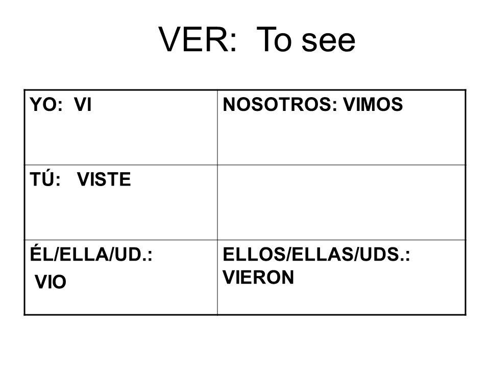 VER: To see YO: VINOSOTROS: VIMOS TÚ: VISTE ÉL/ELLA/UD.: VIO ELLOS/ELLAS/UDS.: VIERON